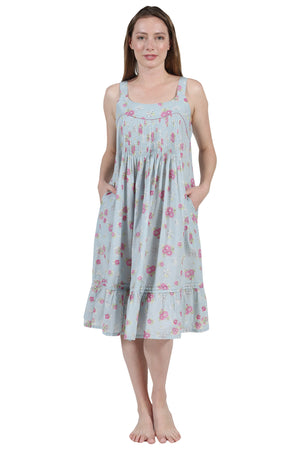 La Cera Pleat Front Cotton Gown With Flounce