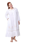 Plus Size 100% Cotton Embroidered Long Sleeve Gown