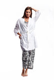 100% Cotton Short Embroidered Wrap Robe