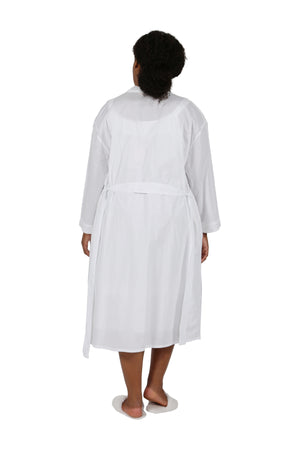 Plus Size 100% Cotton Embroidered Short Robe