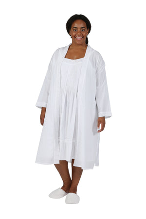 Plus Size 100% Cotton Embroidered Robe