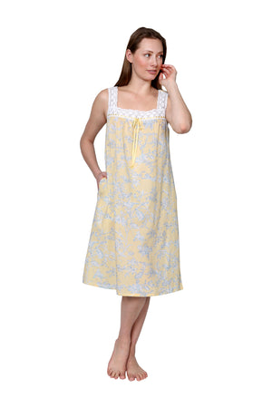Lace Trim Cotton Print Chemise
