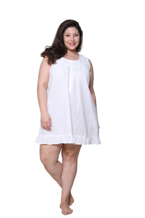 La Cera Plus Size Cotton Lace and Pin Tucked Sleeveless Chemise