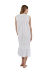 100% Cotton Embroidered Scoop Neck Gown