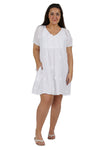 100% Cotton Plus Size Short Sleeve Embroidered Chemise