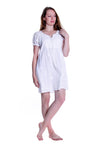 100% Cotton Short Sleeve Embroidered Chemise