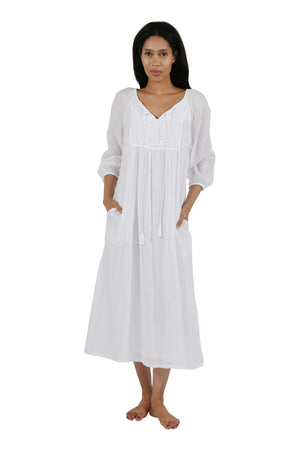 100% Cotton 3/4 Sleeve Embroidered Gown