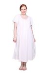 La Cera Plus Size 100% Cotton Lace Applique Gown