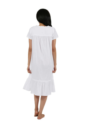 100% Cotton Short Sleeve Embroidered Gown