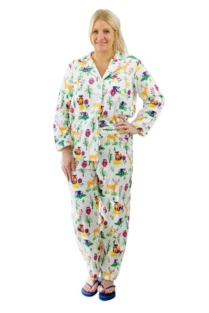 Plus Size Forest Animal Flannel Pajama Set
