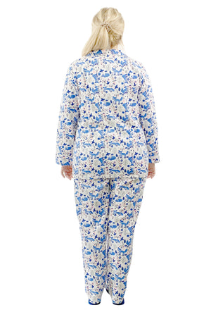 Plus Size Blue Fox Flannel Pajama Set