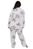 Plus Size Flannel Print Pajama Set