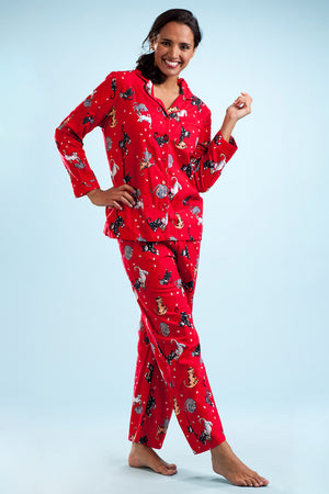 Red Flannel Cat Print Pajama Set