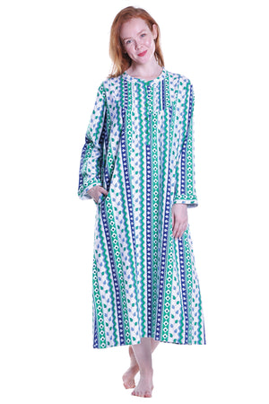 Leaf Print Flannel Plus Size Night Gown