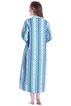 Leaf Print Flannel Night Gown