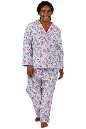 Flannel Long Sleeve Plus Size Pajama Set