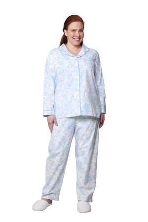 Blue Floral Flannel Long Sleeve Plus Size Pajama Set