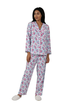 Pink Floral Flannel Long Sleeve Pajama Set