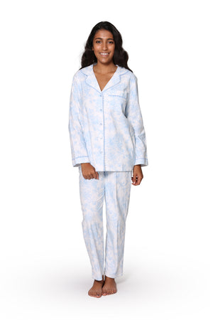 Blue Floral Flannel Long Sleeve Pajama Set