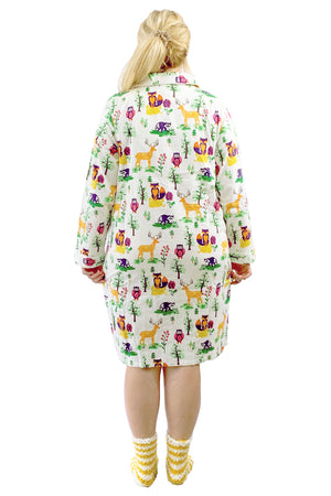 Plus Size Forest Animals Flannel Night Shirt