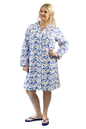 Plus Size Blue Fox Flannel Night Shirt