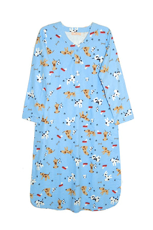 Dog Print Flannel Plus Size Sleep Shirt