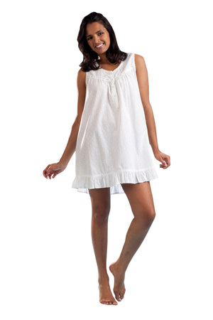 100% Cotton Sleeveless Eyelet Chemise