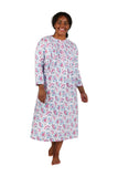 Plus Size Print Flannel Nightgown With Release Pleats