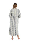 Printed Flannel Nightgown With Release Pleats
