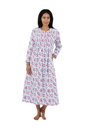 Print Flannel Nightgown With Release Pleats