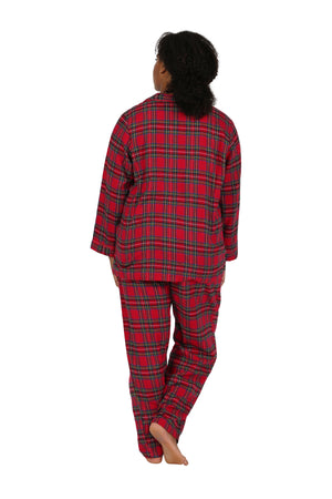 Plus Size 100% Cotton Yarn Dyed Plaid Flannel Pajama Set