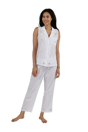 100% Cotton Sleeveless Embroidered Sailboat Capri Pajama Set