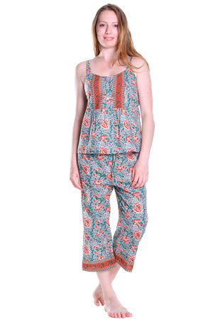 Celadon/Red Cotton Pajamas