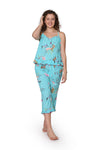 Aqua Floral Cotton Pajamas