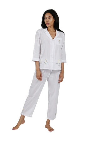 100% Cotton Sunflower Embroidered Pajama Set