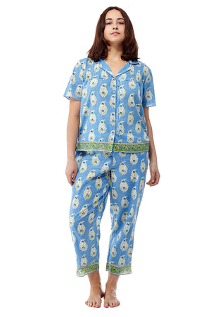100% Cotton Blue Floral Plus Size Pajamas