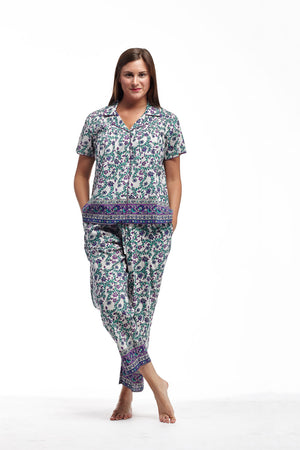 100% Cotton Ivory Floral Plus Size PJs