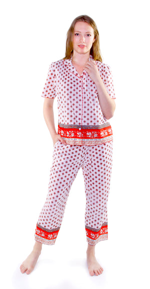 100% Cotton Red and White PJs