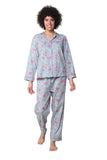 La Cera 3/4 Sleeve Cotton Pajama Set Blue