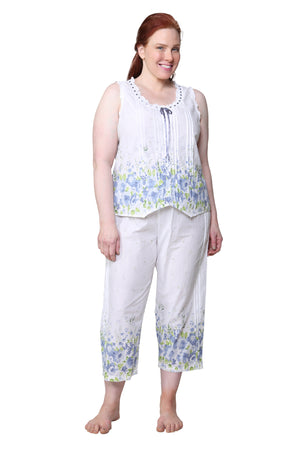 Border Print Sleeveless 100% Cotton Floral  Plus Size PJs