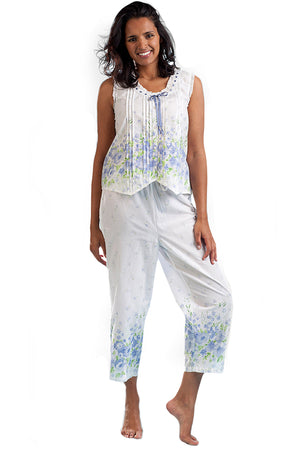 Border Print Sleeveless 100% Cotton Floral PJs