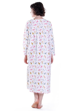 Cat Print Long Sleeve Plus Size Night Gown