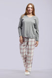 La Cera Grey and Pink Checkered Pajama Set - La Cera™ - 1