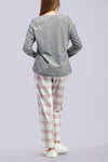 La Cera Grey and Pink Checkered Pajama Set - La Cera™ - 3