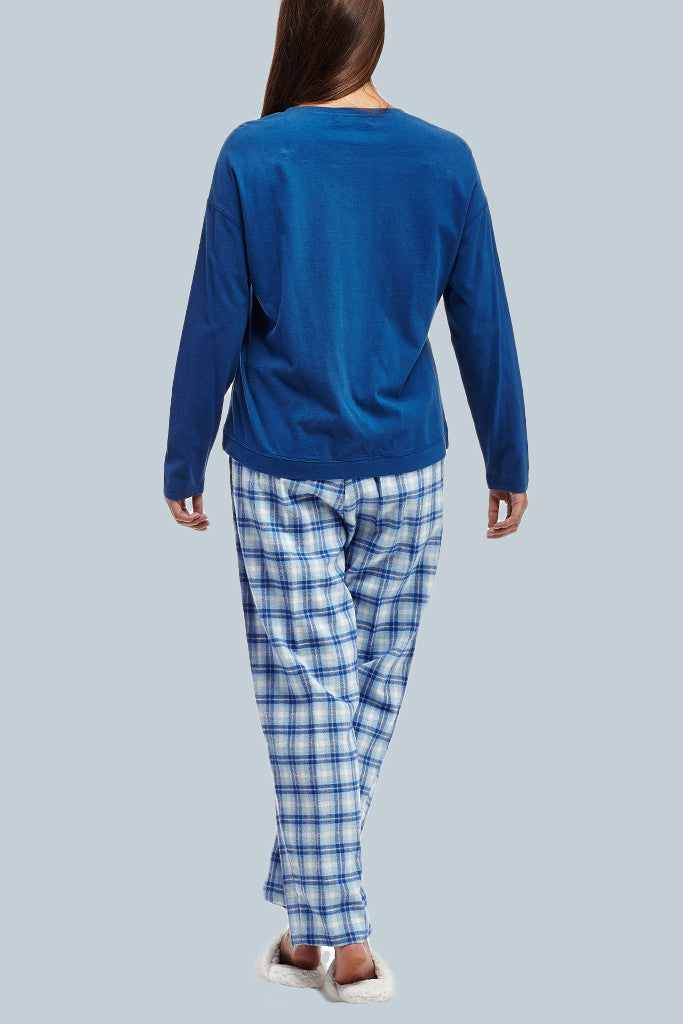 La Cera Blue Plaid Pajama Set - La Cera™ - 4