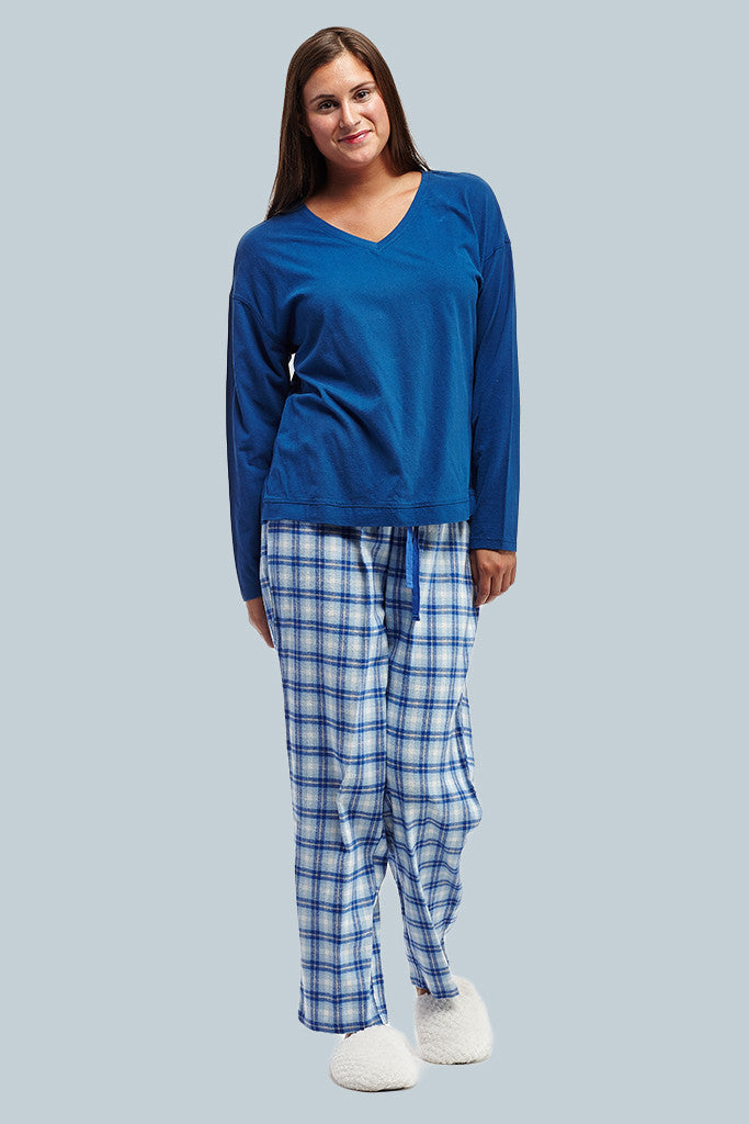 La Cera Blue Plaid Pajama Set - La Cera™ - 1