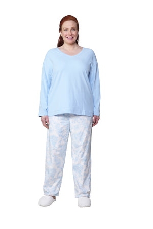 Blue Flannel Long Sleeve Plus Size Pajama Set