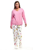 Pink Flannel Cat Print Plus Size Pajama Set