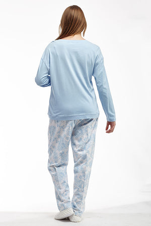 Blue Flannel Long Sleeve Pajama Set