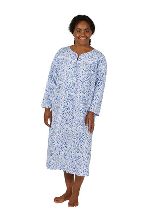 Floral Button Up Plus Size Night Gown